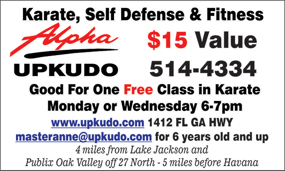 Coupon for one free class; 15 dollar value.